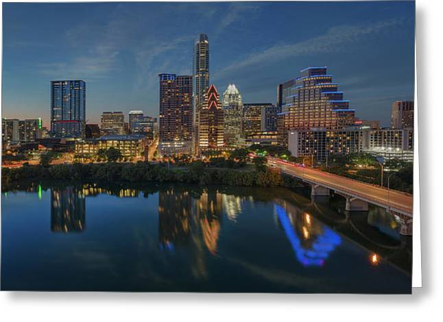Austin Skyline At Night 7-4 Greeting Card by Rob Greebon