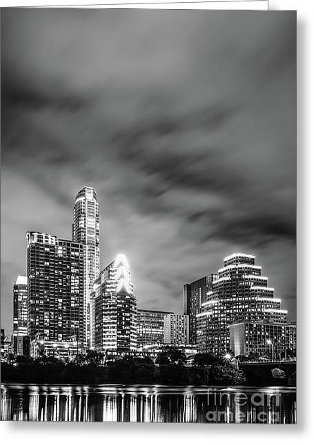 Austin Skyline At Night Black And White Photo Greeting Card by Paul Velgos