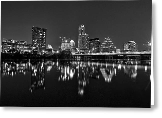Greeting Card featuring the photograph Austin Skyline At Night Black And White by Todd Aaron