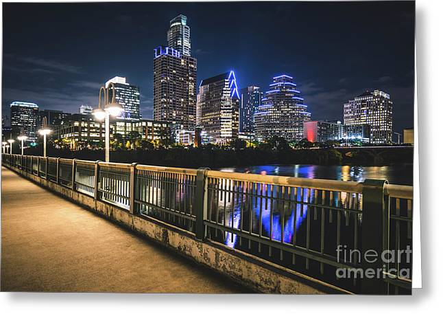 Austin Skyline At Night In Austin Texas Greeting Card by Paul Velgos