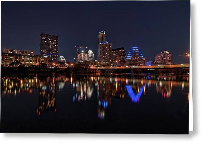Austin Skyline At Night Greeting Card
