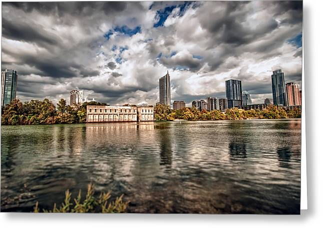 Austin Skyline On Lady Bird Lake Greeting Card by John Maffei
