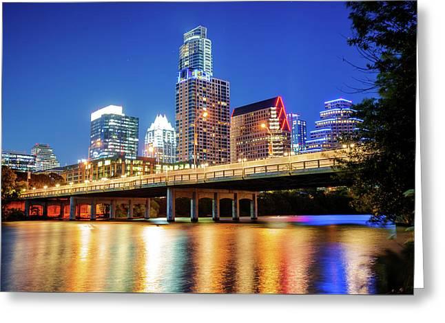 Austin Skyline On The River - Texas Capitol Greeting Card