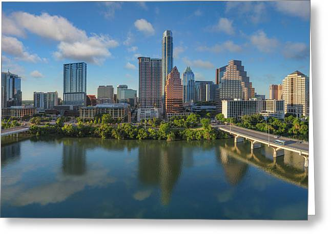 Austin Skyline Panorama Spring Afternoon 7-1 Greeting Card by Rob Greebon