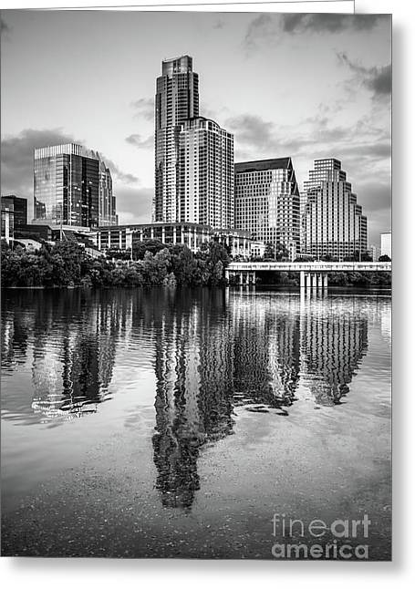 Austin Skyline Reflection In Black And White  Greeting Card by Paul Velgos