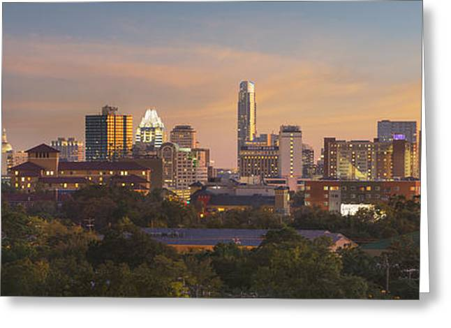 Austin Skyline Sunset From The Northwest 1 Greeting Card by Rob Greebon
