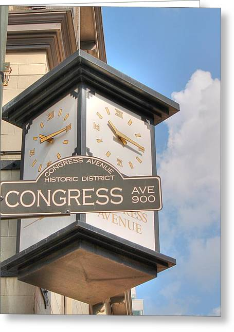 Frost Bank Building Greeting Cards - Austin Street Sign and Clock Greeting Card by Sarah Broadmeadow-Thomas