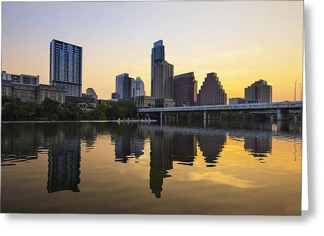 Austin Texas And Lady Bird Lake At Sunrise 1 Greeting Card