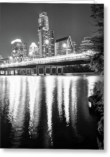 Austin Texas Black And White Skyline Night Reflections Greeting Card