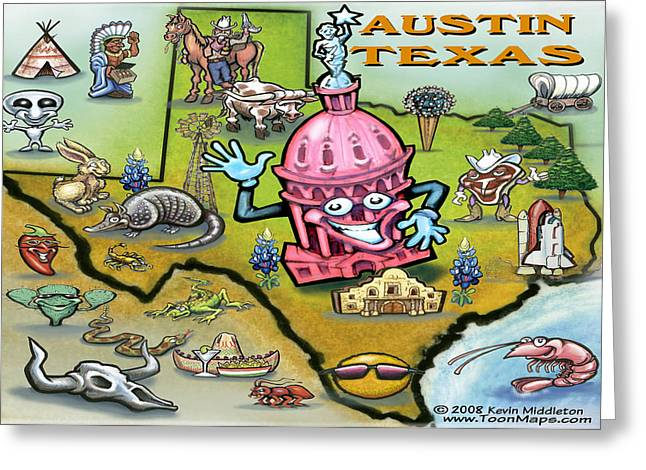 Austin Texas Cartoon Map Greeting Card by Kevin Middleton