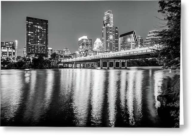 Austin Texas Downtown Skyline At Night On The Colorado River - Black And White Edition Greeting Card