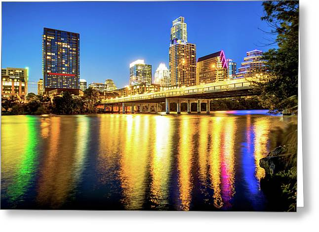 Austin Texas Downtown Skyline At Night On The Colorado River Greeting Card