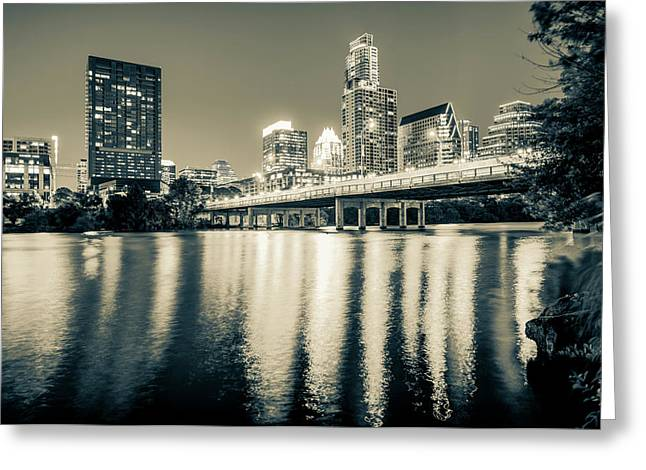 Austin Texas Downtown Skyline At Night On The Colorado River - Sepia Edition Greeting Card