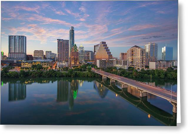 Austin Texas Evening Skyline 73 Greeting Card by Rob Greebon
