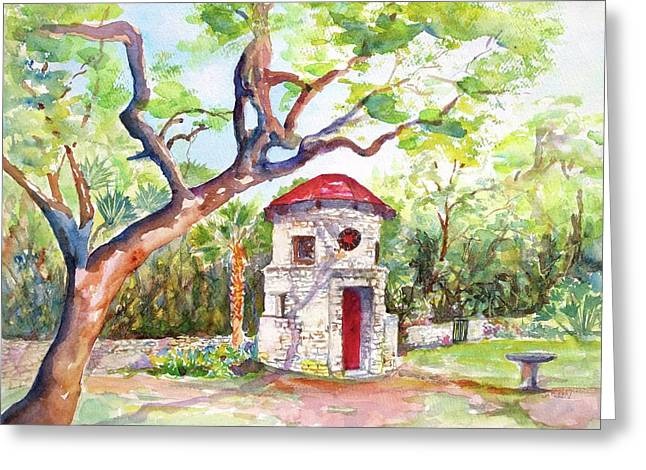 Greeting Card featuring the painting Austin Texas Mayfield Park by Carlin Blahnik CarlinArtWatercolor