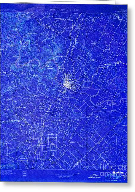 Austin Texas Old Map, Blue Background, White Lines Greeting Card by Pablo Franchi