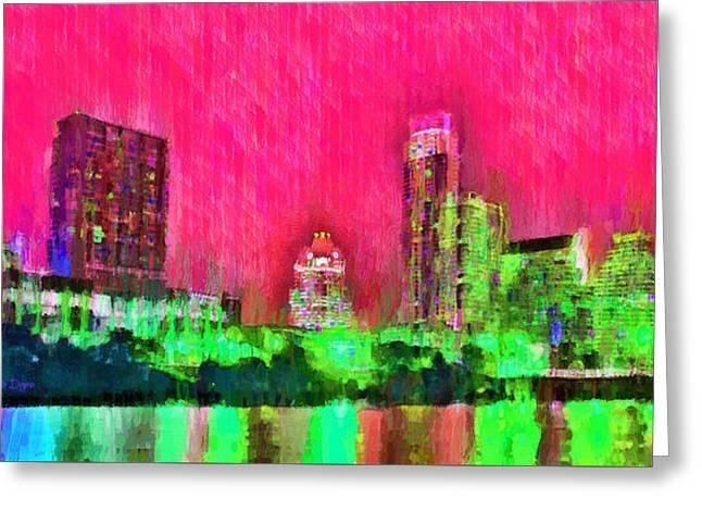 Austin Texas Skyline 106 - Pa Greeting Card by Leonardo Digenio