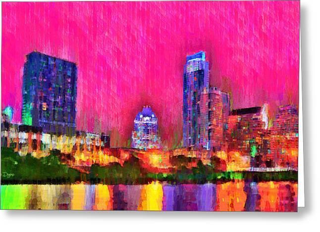 Austin Texas Skyline 112 - Pa Greeting Card by Leonardo Digenio