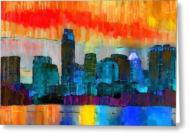 Austin Texas Skyline 201 - Pa Greeting Card by Leonardo Digenio