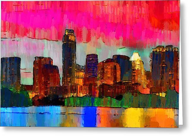 Austin Texas Skyline 210 - Pa Greeting Card by Leonardo Digenio