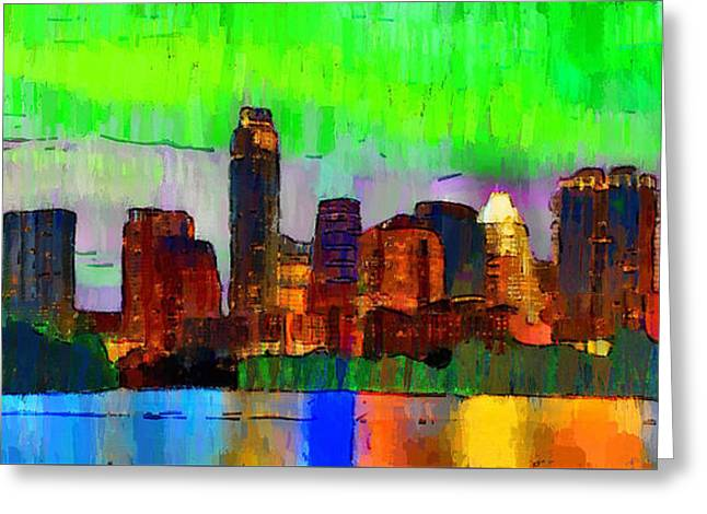 Austin Texas Skyline 213 - Pa Greeting Card by Leonardo Digenio