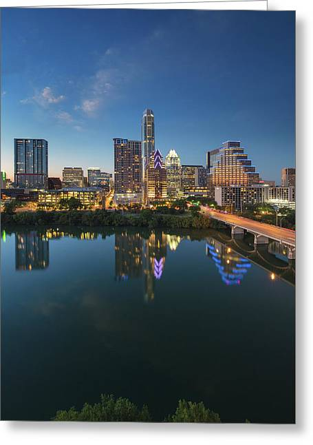 Austin Texas Skyline At Night 73 Greeting Card by Rob Greebon