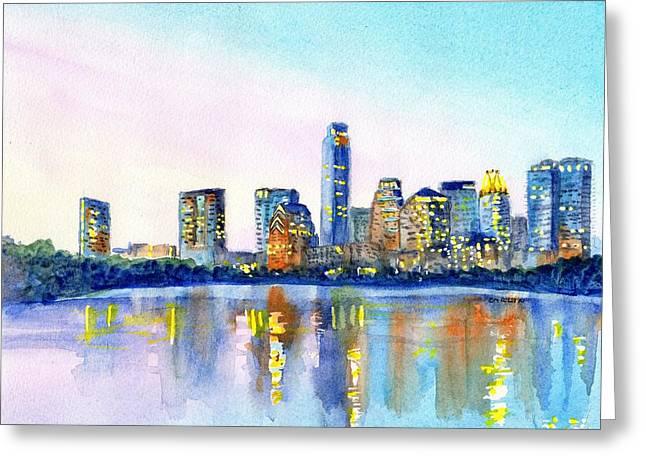 Austin Texas Skyline Greeting Card by Carlin Blahnik