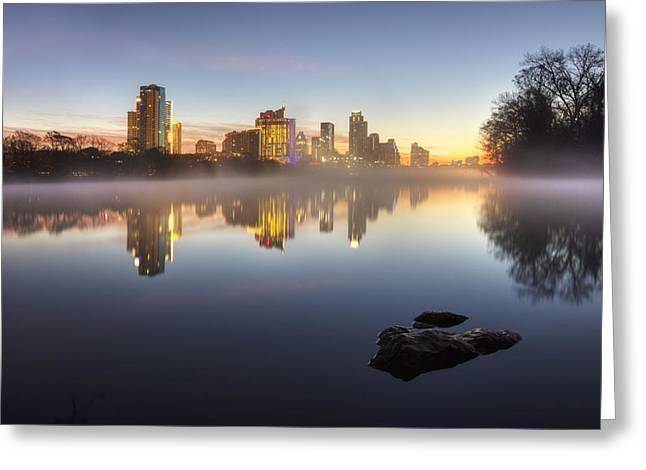 Austin Texas Skyline In January 1 Greeting Card by Rob Greebon