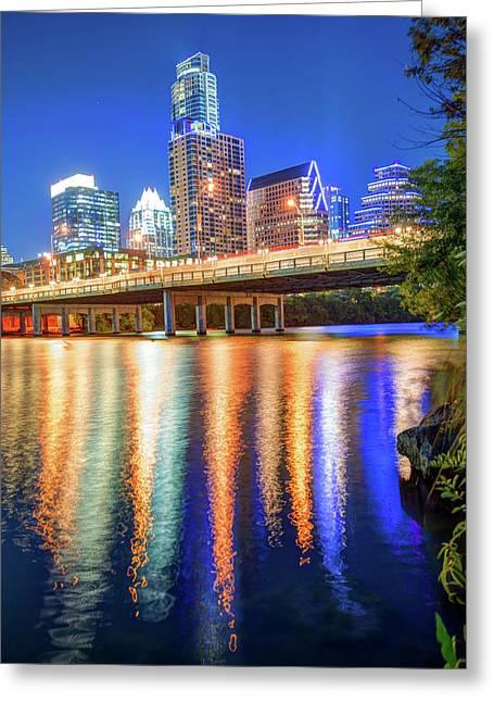 Austin Texas Skyline Night Reflections Greeting Card