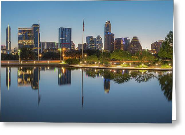 Austin Texas Skyline Panorama Before Sunrise 1 Greeting Card by Rob Greebon