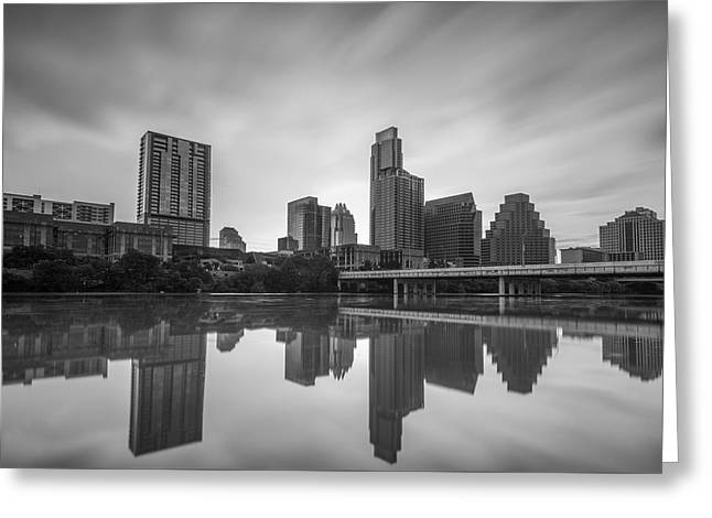 Greeting Card featuring the photograph Austin Texas Skyline Reflecting In Ladybird Lake Long Exposure by Todd Aaron