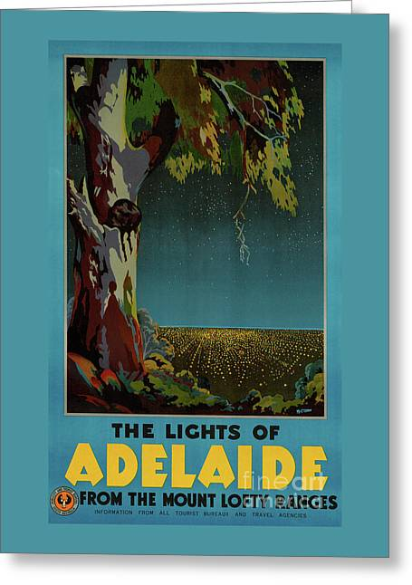 Australia Adelaide Restored Vintage Travel Poster Greeting Card by Carsten Reisinger