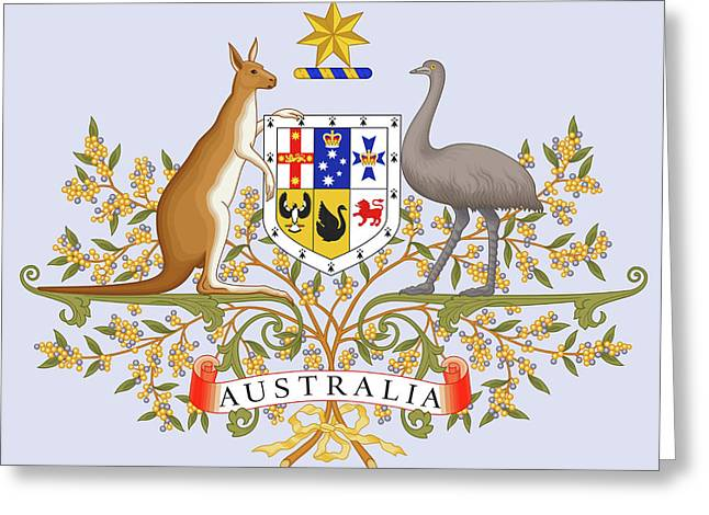Greeting Card featuring the drawing Australia Coat Of Arms by Movie Poster Prints