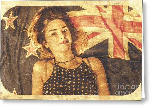 Australia Day Pinup Girl Postcard Greeting Card