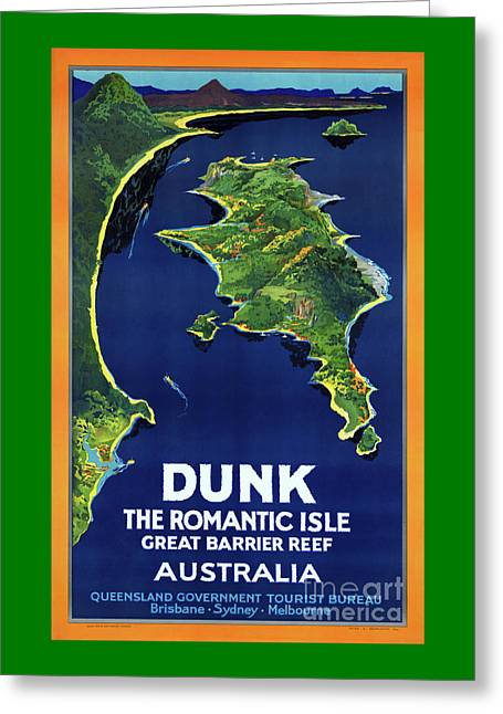 Australia Dunk Restored Vintage Travel Poster Greeting Card by Carsten Reisinger