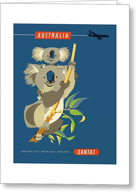 Australia Koala Bears Qantas Empire Airways Vintage Travel Poster Greeting Card