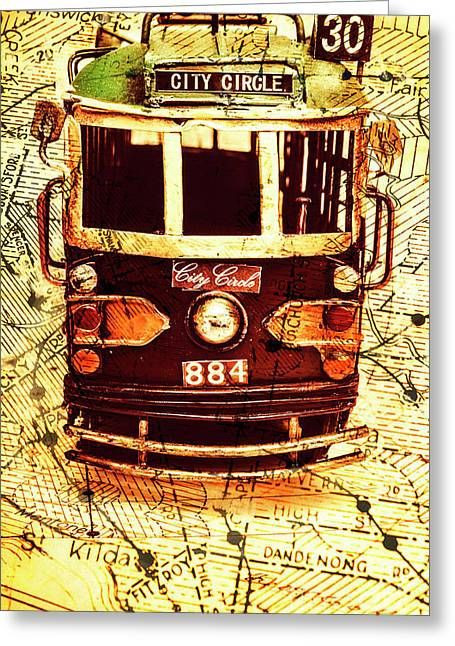 Australia Travel Tram Map Greeting Card