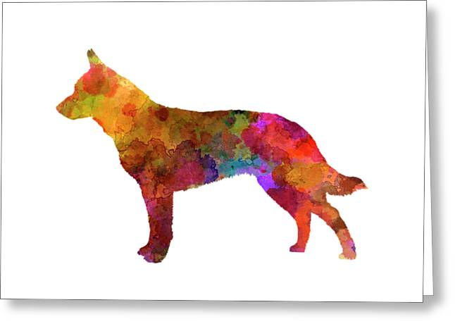 Australian Cattle Dog In Watercolor Greeting Card by Pablo Romero
