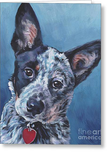 Greeting Card featuring the painting Australian Cattle Dog by Lee Ann Shepard