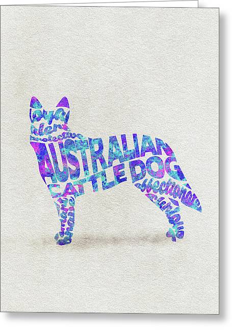 Australian Cattle Dog Watercolor Painting / Typographic Art Greeting Card