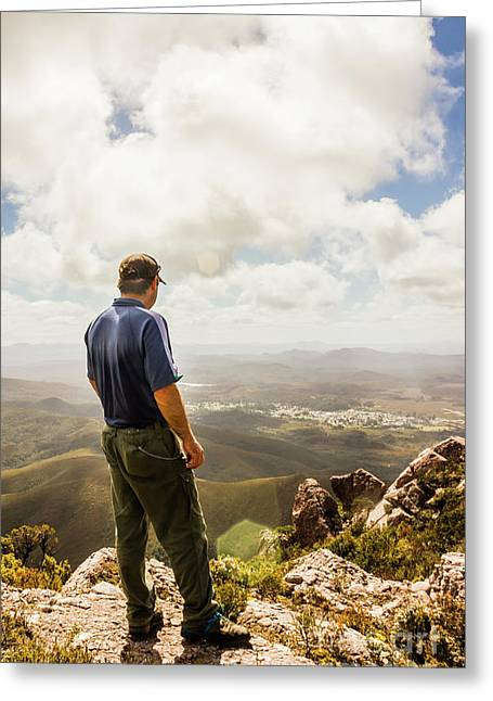 Australian Explorer Sightseeing Mt Zeehan Greeting Card