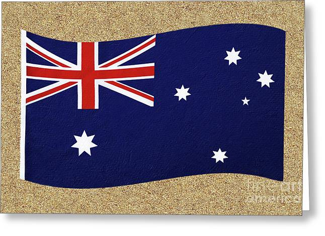 Australian Flag On Sand By Kaye Menner Greeting Card by Kaye Menner