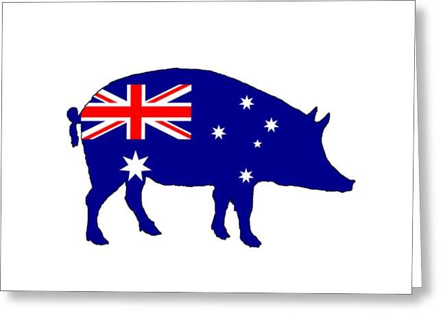 Australian Flag - Pig Greeting Card by Mordax Furittus