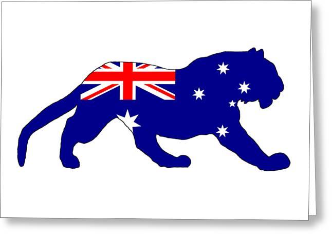 Australian Flag - Tiger Greeting Card by Mordax Furittus