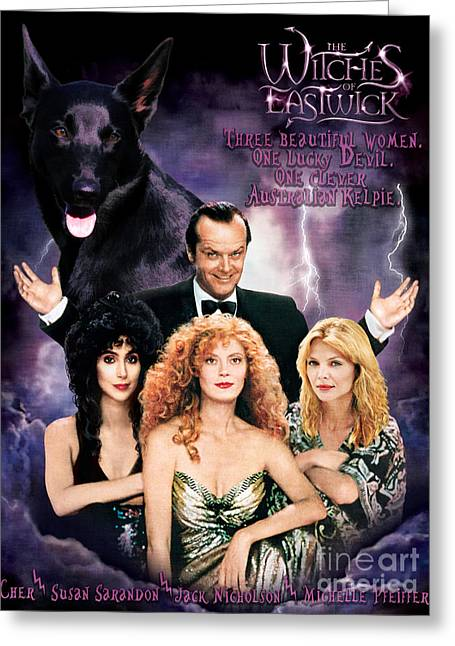 Australian Kelpie - The Witches Of Eastwick Movie Poster Greeting Card by Sandra Sij