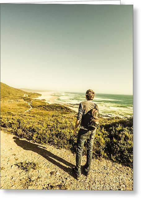 Australian Man Admiring Tasmania Landscape Greeting Card by Jorgo Photography - Wall Art Gallery