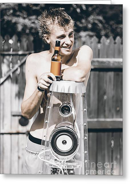 Australian Man With Beer And Music In Home Yard Greeting Card by Jorgo Photography - Wall Art Gallery