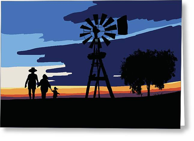 Australian Outback Sunset Greeting Card by Kate Farrant