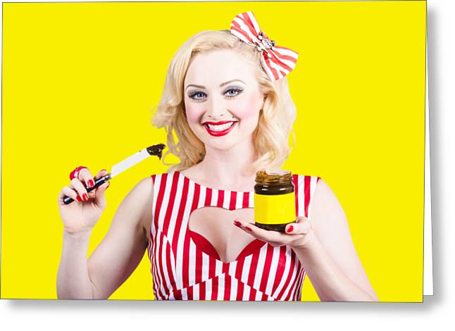 Australian Pinup Woman Holding Sandwich Spread Greeting Card by Jorgo Photography - Wall Art Gallery