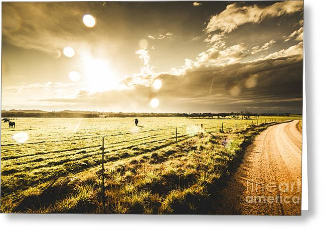 Australian Rural Dirt Road  Greeting Card by Jorgo Photography - Wall Art Gallery
